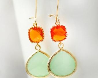 Drop Earrings, Dangle Earrings, Orange Mint Bridesmaid Gift Dangle Earrings Dangle Drop Earrings Jewelry Bridesmaid Jewelry LimonBijoux