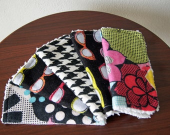 CLEARANCE - Baby Girl Wash Cloths - Bold & Bright - Black, Pink, Green - Baby Shower Gift