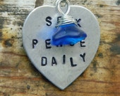 RESERVED for JASMINE-CHARIE: Stamped Seek Peace Daily Heart Blue Glass Flower Charm Necklace Valentine's Day Graduation Gift