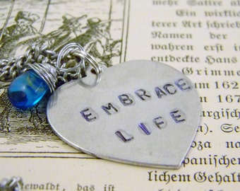 Stamped EMBRACE LIFE Blue Glass Heart Briolette Charm Necklace Valentine's Day Graduation Gift