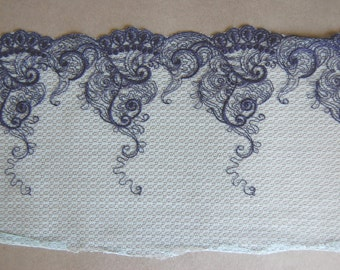 Navy Embroidered Tattoo Mesh