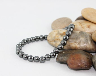 6mm Hematite Beaded Bracelet, Mens, Womens, Stretch Gemstone Jewelry