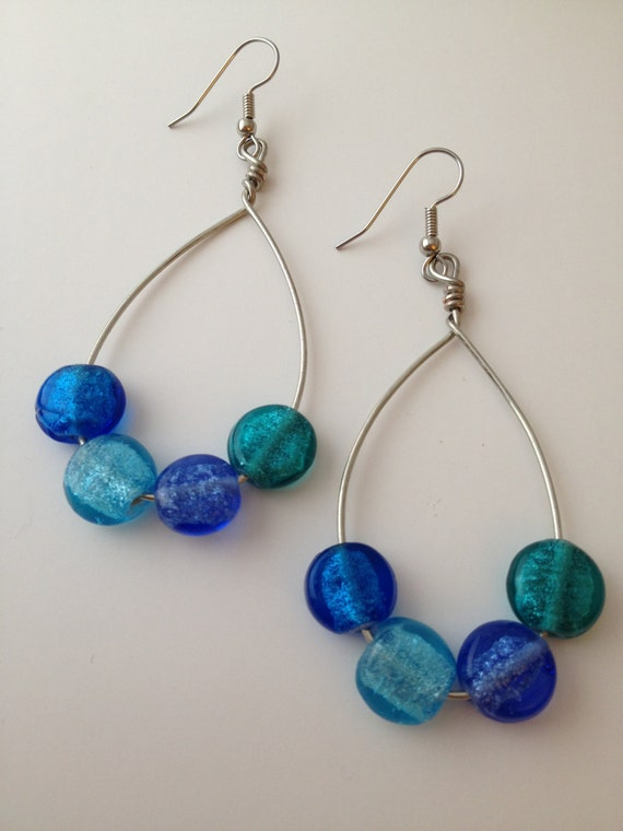 Blue & Teal Hoop Earrings