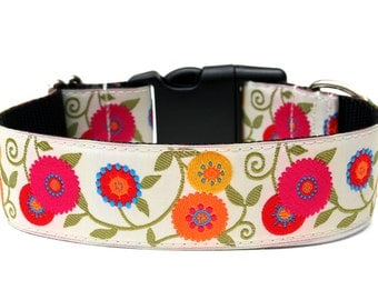 "Flower Dog Collar 1.5"" Floral Dog Collar"