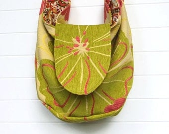 Hippie Bag Purse Lime Green Floral Chenille