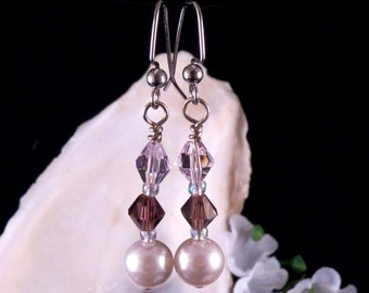 Pink Earrings - Purple Earrings - Glass Beaded Earrings - Pink Dangling Earrings - Pink Handmade Costume Jewelry - Made in USA Free Shipping
