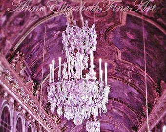 Paris Photography-Nursery-Chandelier-Paris-France-Versailles-Hall of Mirrors-Fashion Art-Purple-Pink-Preppy- Dorm-Paris in Color-Romantic