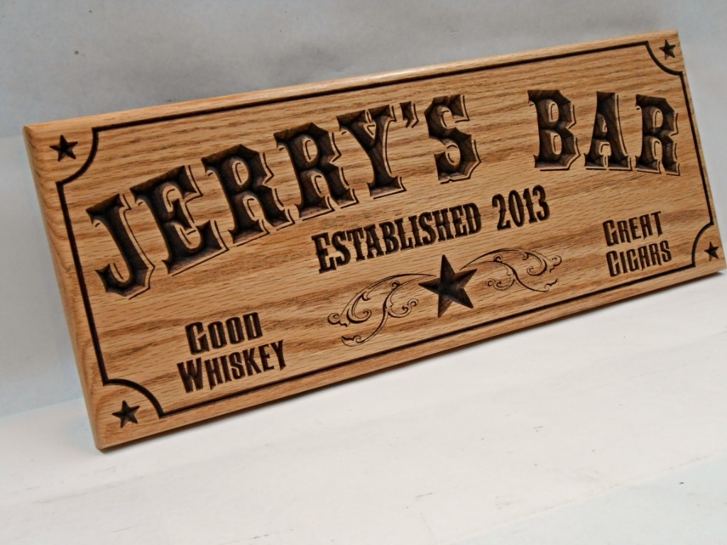Man Cave Signs Personalised : Wood man cave bar sign personalized pub business
