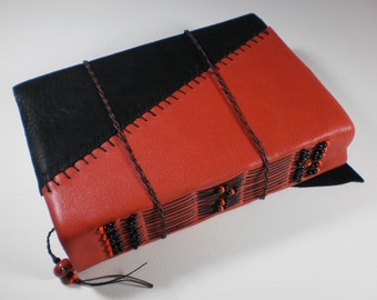 Beaded Blank Book Red & Black Leather Cover