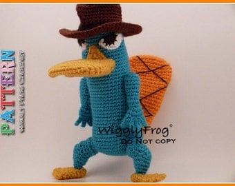 """Perry the Platypus (from Phineas and Ferb) - Amigurumi Crochet PATTERN """"PDF file"""""""