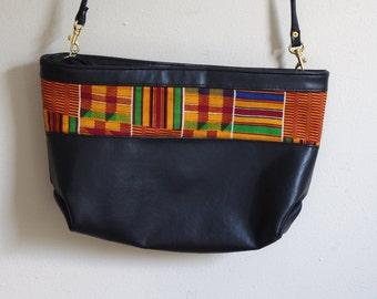 black faux VEGAN leather KENTE cloth bag purse crossbody clutch convertible