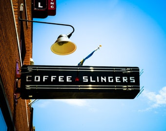 Oklahoma City - Neon Sign - Buildings - Automobile Alley - Architecture - Downtown - Coffee Slingers Neon Sign