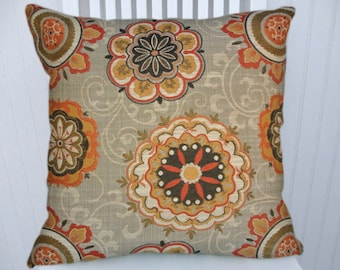Orange Suzani  Pillow Cover Decorative Orange and Grey 18x18 or 20x20 or 22x22 Throw Pillow- Orange,Gold, Brown, Green Accent Pillow