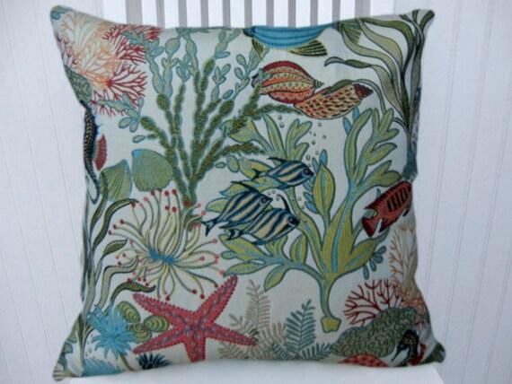 15x15 Throw Pillow Cover : Aqua Coral Pillow Cover Throw Pillow Sea Fish 15x15 or