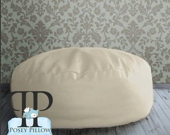 Studio Size POSEY PILLOW - The newborn poser. Puck shaped ottoman beanbag photo prop.  Cream Color Bean Bag.