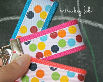 Rainbow Dots Keychain, Polka Dots Ribbon Mini Key Fob, Teacher Gift, Back to School, Choose One