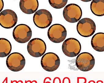 600 PCS X 4mm SS16 Round Smoked Topaz Brown Rhinestone Bling 14 Faceted Cut Resin Crystal Gems Flatback Deco Nail Art Material (GM.R4C)