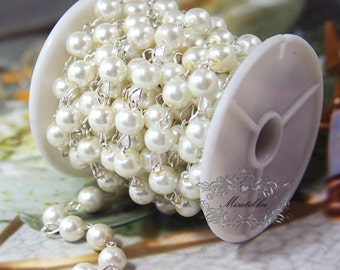 2-10 Feet / 3 Yard 8mm Vintage Linked Pearl Chain Silver Links Ivory White Pearl Chain by foot Bulk Pearl Chain Faux Pearl Bead Chain CP