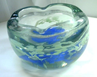 Hand Crafted Heavy Glass Bowl or Ashtray - Controlled Bubble