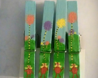 Lorax and Truffula Trees clothespin magnets, set of 4