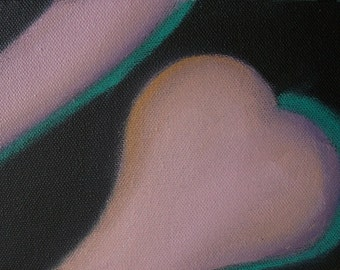 Supple Forms 2 Abstract Oil and Acrlyic on Canvas 5x7 Painting Figurative Nude Male