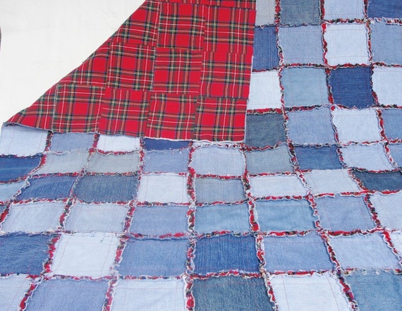 Denim Rag Quilt Frayed Denim Jean Quilt 64 X 49 Blue Denim Red