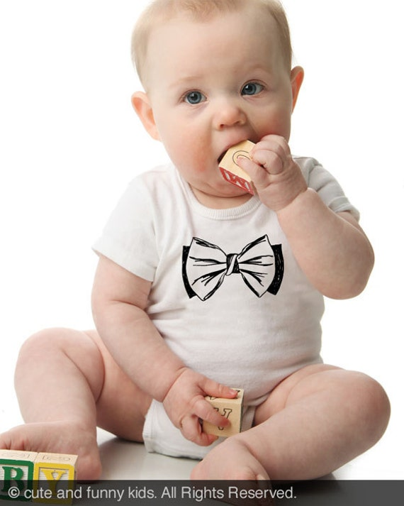 fake bow tie 4 - graphic printed on Infant Baby One-piece, Infant Tee, Toddler, Youth Shirt