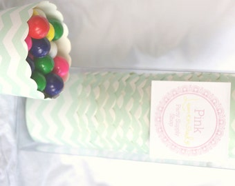 Small Mint Green Chevron-Boxed-Nut/Candy/Baking Cups-20ct--Parties--cupcakes-gumballs-snacks