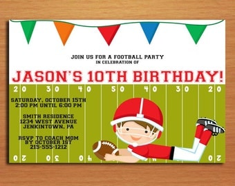 Football Birthday / Customized Printable Birthday Party Invitation Cards DIY