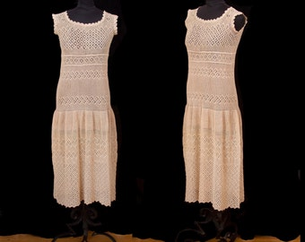 1920s Dress // Crochet Filet Lace Drop Waist Ecru Flapper Dress