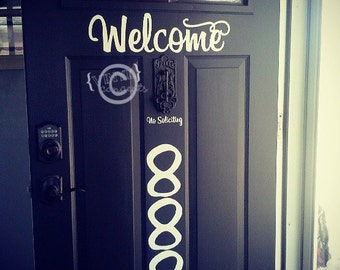 Welcome and No Soliciting - Vinyl Wall Art