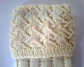 Hand knitted men's kilt hose / socks with patterned top. UK 9  US 11  EU 43 1/2