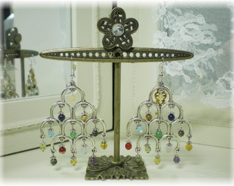 Signature Ornamental Jerusalem Genuine Gemstones Chandelier Earrings