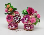 Skull mini weddings cake topper handmade super bow pink rose bride and groom