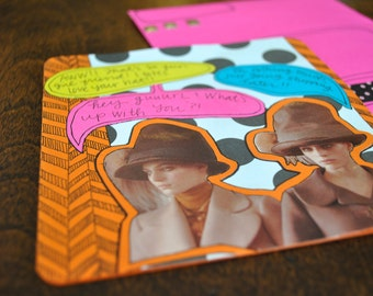 Quirky Neon Girly Greeting Card