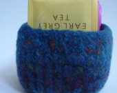 felted wool bowl container square  dark teal mix RESERVED for J