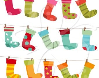 Christmas Stockings Clip Art Clipart Set - Commercial and Personal use