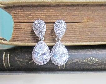 Prom Earrings Rhinestone Earring Prom Night Party Jewelry Grad Night Dangling Drop Clear Crystal Cubic Zirconia Dangle  Earrings JW