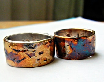 Mens Wedding Bands, Womens Colorful Matching Bands, Metalic Rainbow Colors, Multi-Color Bands, Distressed, Rustic, Fine Silver,