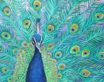 """Flamboyant Peacock 10""""x10"""" Canvas Print/ Gallery Quality Stretched Canvas Print"""