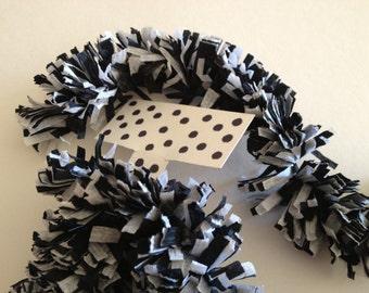 Crepe Paper Fringe, Paper Festooning, Crepe Paper Garland, Crepe Paper Banner, Black And White Handmade Decoration Decorating Supply Vintage