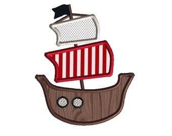 Pirate Ship Applique Machine Embroidery Design-INSTANT DOWNLOAD