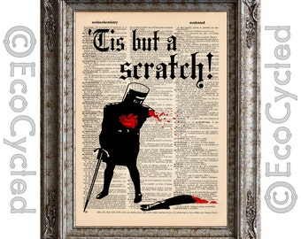 Black Knight on Vintage Upcycled Dictionary Art Print Book Art Print Recycled Monty Python Holy Grail Tis But a Scratch book lover art