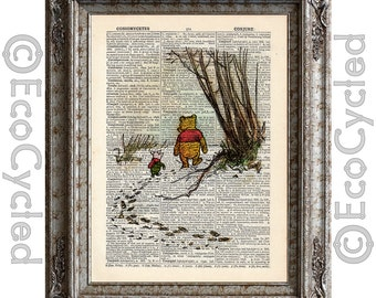 Winnie the Pooh and Piglet in the Snow plain on Vintage Upcycled Dictionary Art Print Book Art Print book lover art upcycled book page