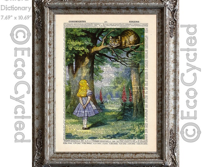 Alice in Wonderland and the Cheshire Cat 3 full on Vintage Upcycled Dictionary Art Print Book Art Print Recycled bookworm gift
