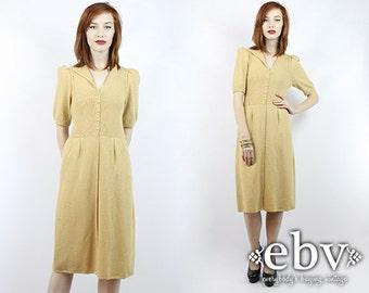 Gold Dress 1970s Dress Puff Sleeve Dress Sweater Dress Christmas Dress Holiday Dress 70s Dress Vintage 70s Gold Knit Dress XS S