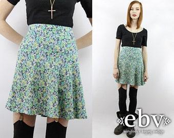 Vintage 90s High Waisted Floral Mini Skirt S M Floral Skater Skirt High Waisted Skater Skirt 90s Skater Skirt