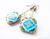 Floral tile Earrings with vintage drawings. Turquoise, white and yellow. Herbal earrings. Arabesque. Swedish colors
