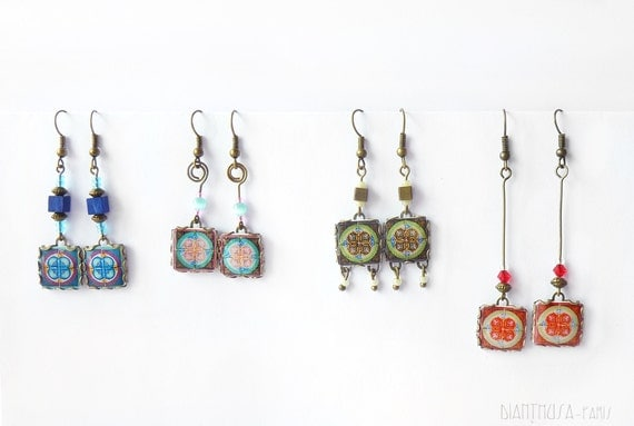 French tiles Earrings with vintage drawings  Red, white, yellow and blue floral and  medieval drawings