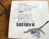 decorative tile with easel stand - inspirational quote, dragonfly